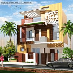 Building Elevation, House Elevation, Dressing Room Design, Modern Houses, Beautiful Scenery, Villas, House Plans, Exterior, House Design