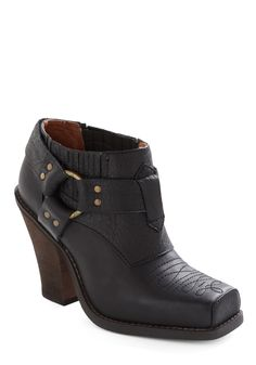 Roam on the Range Boot by Jeffrey Campbell - Casual, Black, Solid, Embroidery, Studs, Leather, High