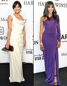 Michelle Rodriguez and Naomi Campbell at the 2015 amfAR New York Gala on February 11, 2015.