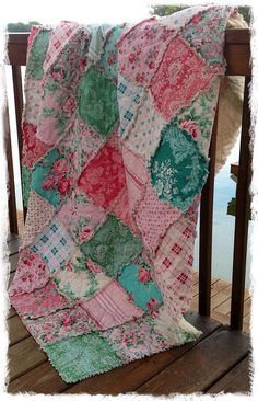 Rag Quilt Throw Picnic Blanket Beach Blanket...love these colors..or teal & orange.