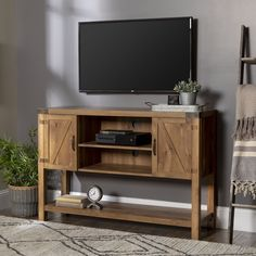 Shop Walker Edison TV Cabinet for Most TVs Up to Brown at Best Buy. Find low everyday prices and buy online for delivery or in-store pick-up. Table Decor Living Room, Living Area, Living Spaces, Low Shelves, Open Shelving, Shelf, Tv Stand Sideboard, Console Table, Family Room
