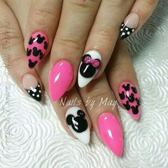 Pink disney inspired nails love the art, not the shape...