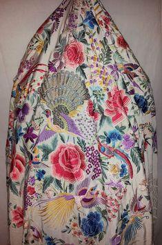 Antique Silk Piano Shawl Canton Manton de Manila Embroidered Floral Peacocks Lg!