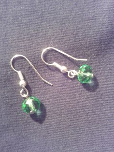Silver plated emerald coloured beads