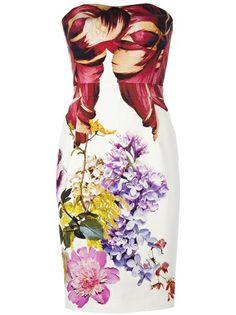 Roberto Cavalli Strapless Floral Print Dress