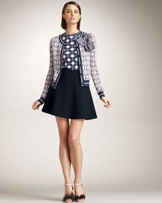Long Sleeve Bow Jacket, Sleeveless Knit Dot Top & Flared Skirt by RED Valentino at Neiman Marcus.
