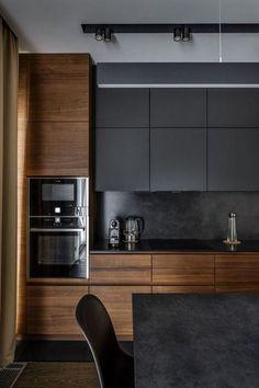 25 Minimalist And Stylish Kitchen Design Ideas - Modern Kitchen Stylish Kitchen, Modern Kitchen Design, Home Interior, Interior Design Living Room, Luxury Interior, Kitchen Designs, Contemporary Kitchen Cabinets, Café Design, Home Design