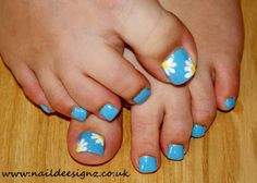 Cute toe nail designs flower and blue nail design for toes nail christines nail designs easy nail designs for short nails daisy nail art prinsesfo Image collections