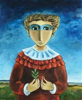 Girl with a Ring by Israeli painter Yosl Bergner