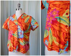 vintage 1990s floral Hawaiian shirt | medium | vint 90s Tropical blouse | pinup shirt | summer top | short sleeve shirt | button down shirt