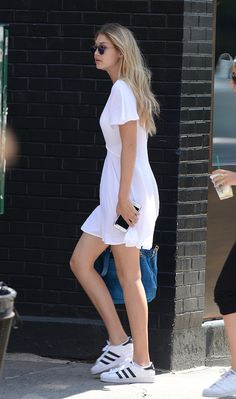Le Fashion Blog 25 Ways To Wear Adidas Sneakers White Dress Blue Croc Bag Superstar Model Gigi Hadid Via Who What Wear