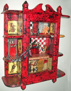 Alice In Wonderland Upcycled Glass Door Curio by thumbprintz, $120.00