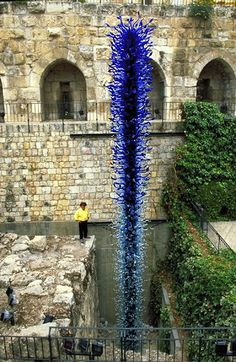 """Blue Tower, Chihuly's art was first exhibited in Israel in the year 2000. """"Chihuly in the Light of Jerusalem"""""""