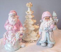 Shabby Chic SANTA White/Rose Pink/Aqua by RoseChicFriends on Etsy, $14.99