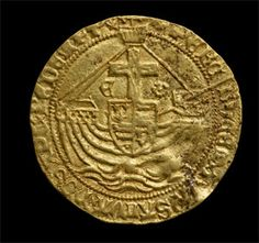 Gold coin from the hoard found in Asthall, Oxfordshire. This religious theme continues on the reverse design, where the traditional ship borne by the gold nobles since 1344 is super-imposed by a cross, and by the inscriptions: Per Crucem Tuam Salva Nos Christe Redemptor: – Through thy cross save us, Christ Redeemer (on the angels); O Crux Ave Spes Unica – Hail! O Cross, our only hope (on the half-angels).