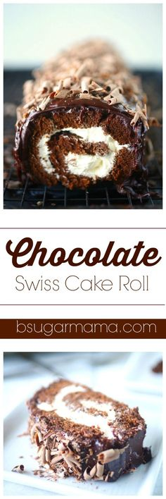 Enjoy this Chocolate Swiss Cake Rolls recipe that is the perfect moist cake and glazed with a delicious and decedent chocolate ganache frosting. This chocolate cake is filled with a sweet cream cheese filling. Brownie Desserts, Oreo Dessert, Mini Desserts, Coconut Dessert, Chocolate Desserts, Easy Desserts, Delicious Desserts, Dessert Recipes, Chocolate Cupcakes