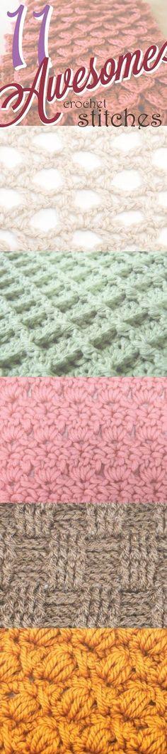 11 Awesome Crochet Stitches - Broomstick Lace, Crocodile Stitch, Star (Daisy) Stitch, Boxed Puff Stitch, Waffle Stitch, Intertwined Lacets Stitch, Cross-Over Long Double Crochet, Peacock Fan Stitch, Primrose Stitch, Bullion Stitch, Basketweave Stitch ❥ 4U // hf