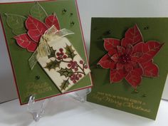Poinsettia Christmas Card Set by TheCraftieOne on Etsy