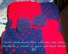 Red and blue blanket with crochet ribbon and bow Blue Blanket, Crochet Projects, Red And Blue, Ribbon, Bows, Handmade, Tape, Arches, Hand Made