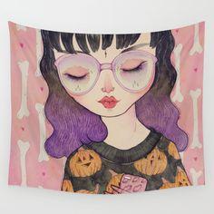 Pumpkin Wall Tapestry. #illustration #painting #pop-surrealism #pop-art