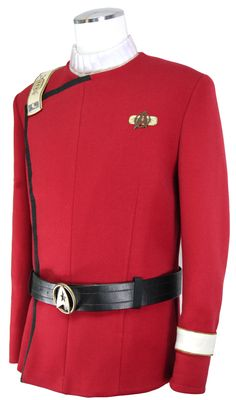 Spock's Wrath of Khan replica uniform : Years in the making, Anovos Productions is about to unveil the ultimate homage to Star Trek II: The Wrath of Khan, the highly sought-after Spock's uniform. Anovos describes the product as the end result of meticulous handiwork and crafting of the perfect colored fabric. No shortcuts were taken in carefully replicating the texture of the twill, hand-stitched lapel chain, and hand-stuffed neck and wristlet detailing with the undershirt.