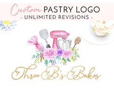 pastry Design Logo - CUSTOM Pastry Logo Watercolor logo Custom Logo Branding and identity Logo Business card Signature Logo Modern Logo Feminine Logo Cake Logo. Bakery Business Cards, Business Card Logo, Business Card Design, Modern Logo Design, Custom Logo Design, Custom Logos, Pastry Logo, Baking Logo, Cake Logo Design