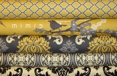 Items similar to AVIARY 2 Joel Dewberry 4 Half Yard Pack / Damask in Granite / Vintage Yellow Cotton Quilt Fabric on Etsy Mellow Yellow, Grey Yellow, Yellow Cream, Bright Yellow, How To Make Curtains, Grey Fabric, Bird Fabric, Yellow Fabric, Fabric Shades