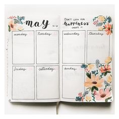 "515 Likes, 19 Comments - Bullet Journal and lettering (@my.first.bu.jo) on Instagram: ""New week, new flower spread! I really loved the colors I used this time!  Happy monday!  . . . .…"""