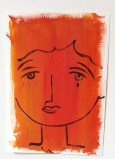 Face of a woman No. 1 - a portret in acrylic paint door XantheCS op Etsy