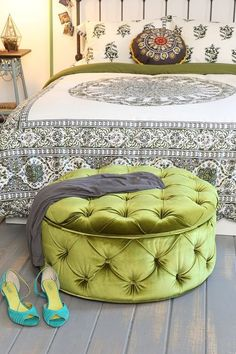 Love the duvet and ottoman. Plum & Bow Ava Large Storage Ottoman - I'm gonna find that tutorial for making a round ottoman. Lounge Chair, Round Ottoman, Green Ottoman, Large Ottoman, Childrens Room Decor, Home Decor Trends, Upholstery, Bedroom Decor, Interior Design