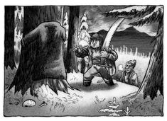 Rumtifusel- Lumberjack tale: a flat creature that wraps itself around a stump or base of a tree trunk. It has a thick and dense fur similar to that of a mink. It appears to be a fine coat and just waits for a cold traveller to pass by and put it on. Once worn it smothers the person and swallows him completely.