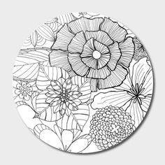 Outline round floral pattern for coloring book page. Antistress for adults and children. Doodle ornament in black and white. Pottery Painting, Ceramic Painting, Ceramic Art, Doodle Drawings, Doodle Art, Zentangle Patterns, Embroidery Patterns, Flower Pattern Drawing, Koi Fish Drawing