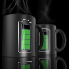 Power-Cell Thermochromic Mug ($25 USD) ~   Heat reactive power cell mug.  Power Level drops as you run out of juice (aka coffee or tea)!  Standard Mug size, with thermochromic level.