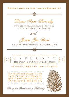 Rustic Pinecone Wedding Invitation. $3.00, via Etsy.