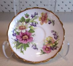 Rosina Bone China Made in England Saucer Bluebells  Pink White & Yellow Flowers 4 • $5.00