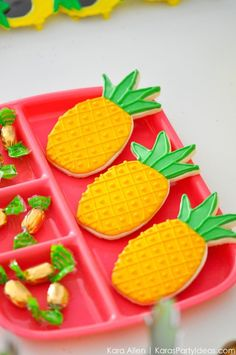 Pineapple cookies! Party Like a Pineapple birthday party via Kara Allen | Kara's Party Ideas | KarasPartyIdeas.com Pineapple party ideas, supplies, recipes, decor and more!