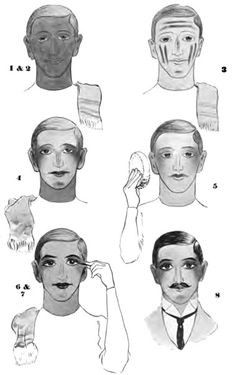 1905 Diagrams showing how to apply straight make-up for a young man using greasepaint.
