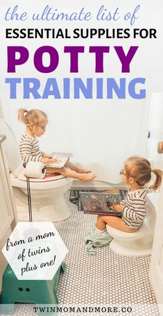 An essential list of potty training supplies for twins or a single child. If you're getting ready to potty train, once you choose your potty training method, the next thing to do is gather up your potty training essentials! Potty Training Humor, Potty Training Rewards, Toddler Potty Training, Training Tips, Training Quotes, Training Schedule, Training Classes, Training Pants, Parenting Toddlers