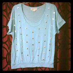 Light blue Michael kors top Light blue Michael kors top with silver squares in front, super cute top MICHAEL Michael Kors Tops Tees - Short Sleeve