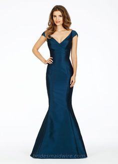 Deep V-neck Cap Sleeve Dark Blue Satin Mermaid Long Bridesmaid Dress Dark  Teal Bridesmaid decce84e5a87