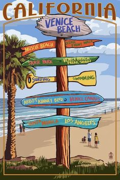 Venice Beach, California - Destinations Sign (36x54 Giclee Gallery Print, Wall Decor Travel Poster) ** Discover this special product, click the image : Storage and Organization
