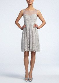 Stylish yet demure, this illusion lace cocktail dress is perfect for that special night out!  Sleeveless bodice features eye-catching and chic illusion sweetheart neckline.  All over delicate lace detail is stunning.  Fully lined. Side zip. Imported poly/nylon/metallic blend. Spot clean.