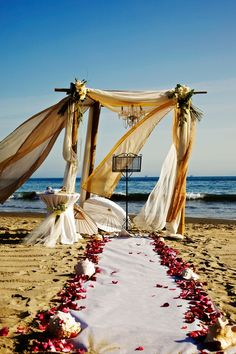 Romantic beach wedding decor. For vow renewals maybe? Much later down the road, of course.