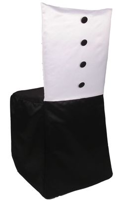 An ideal chair cover for your black tie event. This masculine full chivari chair cover with tailored white top and black bottom highlighted with black buttons brings a formal flair to the event. Chair Bows, Chair Sashes, White Chair Covers, Black And White Tuxedo, Fire Pit Table And Chairs, Wooden Adirondack Chairs, Upholstered Swivel Chairs, Leather Recliner Chair, Boutique Decor
