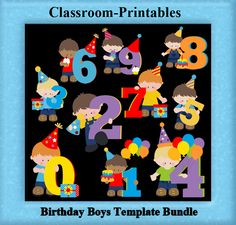 Clipart Templates for Scrapbooking.    Birthday Boy Clipart Template Bundle. For Digital Scrapbooking, Clipart, Creating Cards & Printables.    Comes PSD Format  For Use in Photoshop and Graphics Programs
