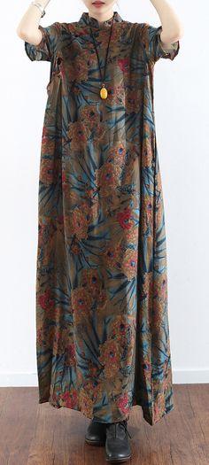 original prints casual linen dresses plus size vintage sundress short sleeve maxi dress