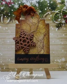 Vintage Tag by Loll Thompson - Cards and Paper Crafts at Splitcoaststampers Christmas Gift Tags, Christmas 2017, Winter Christmas, Wood Snowflake, Black Banner, Mixed Media Cards, Holidays 2017, Vintage Tags, Watercolor Cards