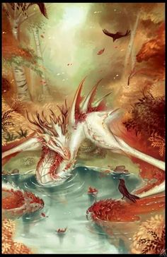 Autumn Wyvern digital painting by Walking Melons - you can find this speedpaint . Mythical Creatures Art, Mythological Creatures, Magical Creatures, Japon Illustration, Digital Illustration, Dragon Artwork, Dragon Pictures, Dragon Pics, Koi Dragon