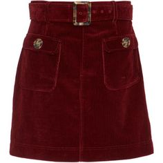ALEXACHUNG Belted Corduroy Mini Skirt