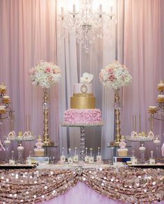 Elegant gold and pink birthday